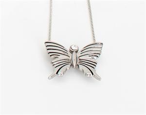 Bild på Lilla Fjärilen Silver - Vuxen (liten fjäril, lång kedja)